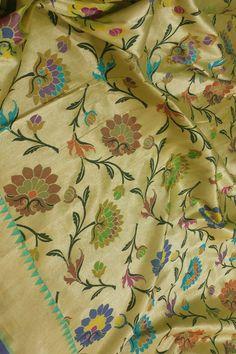 Multicolor Handloom Banarasi Brocade Meenakari Katan Silk Saree  #banarasisaree#