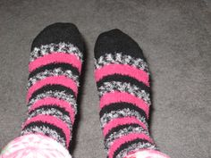 fuzzy black grey and pink socks