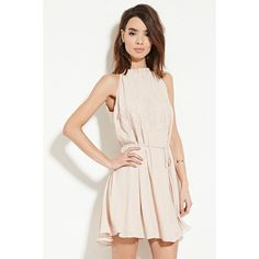 Love 21 Women's  Contemporary Eyelash Lace Dress ($30) ❤ liked on Polyvore featuring dresses, ruffle dress, pink cocktail dress, padded cami, cami dress and eyelash lace dress