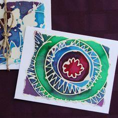 Batik Abstract Notecards Batik Cards Paper Batik Cards by fishwarp