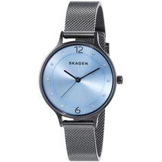 Skagen Women's SKW2308 'Anita' Crystal Stainless Steel Watch ($120) ❤ liked on Polyvore featuring jewelry, watches, blue crystal bracelet, skagen wrist watch, skagen watches, bracelet jewelry and blue bracelet