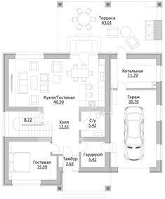 Проект дома C-214M - Проекты домов и коттеджей в Москве House Construction Plan, Floor Plans, Exterior, House Design, How To Plan, Outdoor Rooms, Architecture Design, House Plans, Home Design
