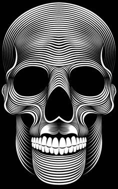 Patrick Seymour is an Illustrator based in Montreal, Canada. His field of expertise are in Digital art, Illustration and Character Design. He is making some awesome black and white illustrations only with simple lines. Patrick Seymour, Op Art, Totenkopf Tattoos, Skull Artwork, Skull Wallpaper, Iphone Wallpaper, Retro Poster, Desenho Tattoo, Line Illustration