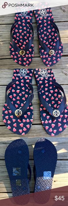 NEW! Tory Burch Heart Flipflops ❤️ NWT! Time to show off that pedi with these adorable brand new Tory Burch Flipflops. Super cute heart pattern on black with a light gold-tone hardware. Tory Burch Shoes Sandals