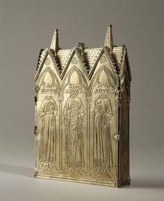 Reliquaire des saints Lucien, Maxien et Julien, 1260, Paris, 13.5x19.5x2.9cm, gravure/orfèvrerie/dorure, partie trésor de la Sainte Chapelle (seule pièce originale datant de la création)