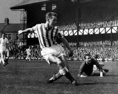 Brian Clough in action for Sunderland in 1961. Don Revie is in the background