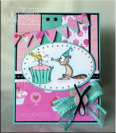 The Inking Spot of Crain Creations by Tangii Crain. Dooley's Birthday by Just Inklined stamps. #cards, #copics, #stamping
