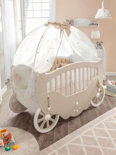 Baby room set up cot carriage soft wall color