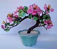 Pink Cherry Blossom Carved Japanese Jade Bonsai Tree Plant 14 Hand Made Chinese Jade Tree Flowering Bonsai Tree Cherry Blossom Bonsai Tree