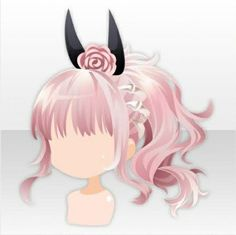 Devil Whisper Horn Side Tail Hair ver.A pink Kawaii Hairstyles, Anime Hairstyles, Drawing Hair Tutorial, Pelo Anime, Drawing Anime Clothes, Anime Dress, Cocoppa Play, Braids For Short Hair, Hair Reference