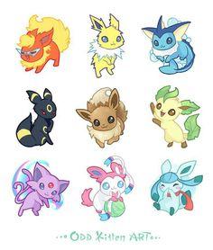 Eevee evolutions, Flareon, Jolteon, Glaceon, Leafeon, Umbreon, Espeon, Sylveon, Vaporeon, cute, text; Pokémon