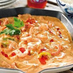 Räkor i het sås. Seafood Recipes, Vegetarian Recipes, Dinner Recipes, Healthy Recipes, Halloumi, Fish And Seafood, Love Food, Food And Drink, Food Porn