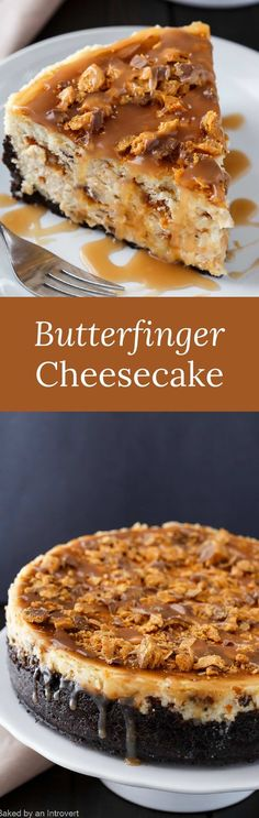 There is so much to love about Butterfinger Cheesecake with Caramel Drizzle. Butterfinger bars and cheesecake is an incredible combination. via /introvertbaker/