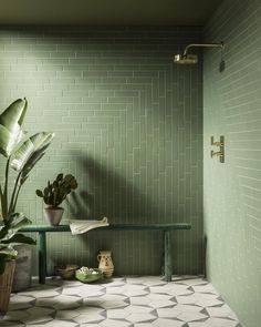 Discover green tile trends in 2020 & how they offer a calming, modern vibe to your home. Shop green marble, ceramic & porcelain tiles at Mandarin Stone. Bathroom Interior Design, Home Interior, Bathroom Designs, Interior Ideas, Interior Livingroom, Interior Plants, Interior Modern, Kitchen Designs, Interior Inspiration