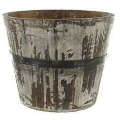 """6 3/4"""" Gray Round Wood Planter 