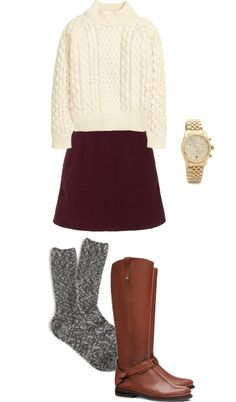 Thanksgiving Outfit Idea: Sweater + Mini + Riding Boots + Socks
