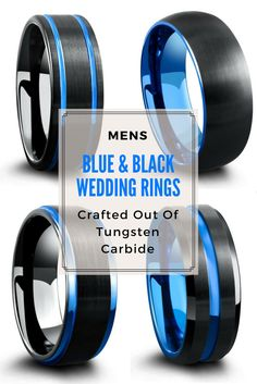 Mens blue and black wedding rings. These unique mens wedding rings are crafted out of tungsten carbide. Extremely durable and tough. I love the blue on these mens rings.