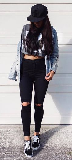awesome street style hat + crop top + jacket + rips + sneakers