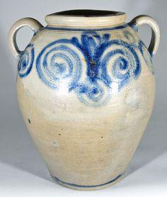 James Morgan, Cheesequake, NJ Stoneware Jar, 18th Century