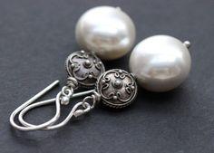 Pearl earrings - dangler earrings - Artisan Pearl Bridal jewelry -GIFT