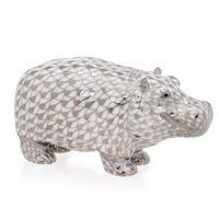 Herend Platinum Hippo Figurine