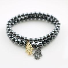Wholesale 6 mm Top Quality Hematite Beads Black Golden Hamsa Fatima Hand Style Charm Bracelets Men Beaded Jewelry