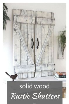 Beautiful solid wood rustic Farmhouse  shutters! found them on Etsy, have a look, her whole shop is amazing! #rusticdecor #countrydecor #farmhousedecor   #rusticfarmhouse #ad #bbmaff #fixerupper #modernfarmhouse #woodshutters   #shutters #modernfarmhousedecor #rusticcountryfarmhouse   #FarmhouseInteriorDesignideas #RusticCountryFarmhouseDecorIdeas  #homedecor