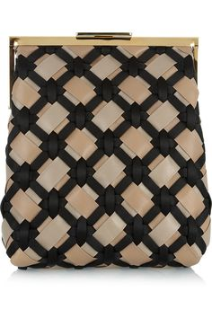 MARNI / Woven leather and satin clutch
