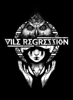Vile Regression merch design. 18x24 inches, ink and digital. Adam Rosenlund