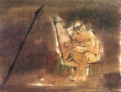 Borsos Miklós: Dávid, 1975, lavírozott tusrajz, 52x68 cm