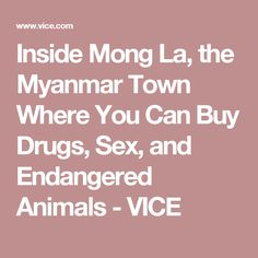 Inside Mong La, the Myanmar Town Where You Can Buy Drugs, Sex, and Endangered Animals - VICE