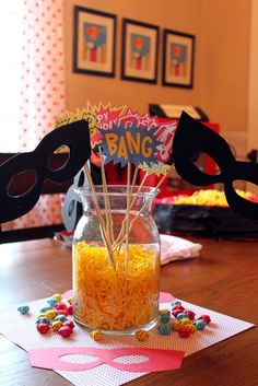 """Via CatchMyParty.com Search words SuperHero """"he's Fast, He's funny, He's Five"""" Mask for Photobooth Idea"""