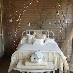 Find Tall Skinny dead tree branches, wrap fairy lights around every branch & twig you can find or reach, then adhere (with tape/string/rope/etc) to your wall on both of your bedside areas for a creative and uniquely beautiful nightlight Fairy Bedroom, Boho Bedroom Decor, Diy Room Decor, Wall Decor, Bedroom Lighting, Girls Bedroom, Bedroom Ideas, Master Bedroom, Vintage Bedroom Styles