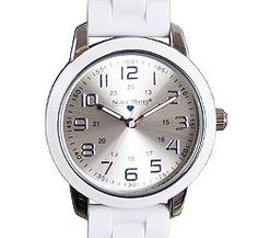 "Nurse Mates Women's Favorite White Ring Dial Watch by Nurse Mates. $32.99. Nurse Mates Favorite White Ring Dial Watch. This is an oversized case with colorful outer ring and flexible rubber link strap. Case measures 1.5"" diameter. Military time and water resistant construction. Fits Wrist Sizes 5 1/2"" - 8""."