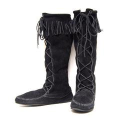 MOCCASIN black suede 80s 90s FRINGE lace by 20twentyvintage,
