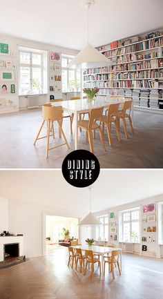 How amazing is this dinning room? My dream! That wall of books, the floor, click through to see more; it's  amazing!