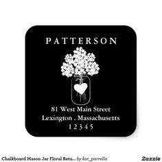 Chalkboard Mason Jar Floral Return Address Label