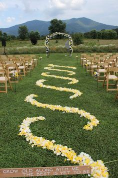 Ready for the wedding of Nick and Shonna!  Beautiful rose petal design.  Shonna left the 'grow old along with me' sign for use by future Khimaira Farm wedding clients. Blue Ridge Mountains Shenandoah Valley