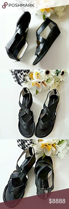 """¡Just In! Donald Pliner Wedge Thong Sandal I'm obsessed with these wonderful shoes! So much so, I bought the only pair I could find anywhere but they're just too small for my size 8 feet! Buttery soft 100% black leather, silver tone hardware (including zipper & pull) cushioned insole and genuine leather outsoles. The hidden thong & approx 2"""" wedge heel make these gorgeous & comfy. NWOT--Treat yourself! They're a REAL treasure! *Ask Questions B4 U Buy!* Donald J. Pliner Shoes Sandals"""