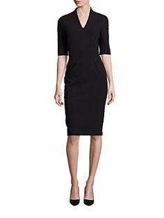 Escada - Elbow-Sleeve V-Neck Sheath Dress