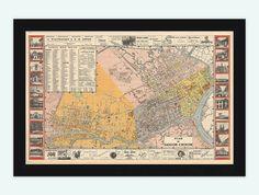 Vintage Map of Saigon Ho Chi Minh City Vietnam