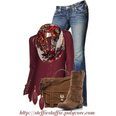 """""""Fall Style: Deep Red & Brown"""" by steffiestaffie on Polyvore"""