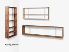 "Wandregal ""hylly"", konfigurierbar, Massivholz hirnholz.at Shelves, Home Decor, Carpentry, Timber Wood, Shelving, Decoration Home, Room Decor, Shelving Units, Home Interior Design"