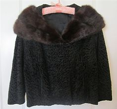 Vintage Black Persian Lamb Jacket with Mink Collar by valsunique