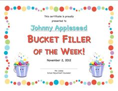 Bucket Filler of the Week certificate  Creative Elementary School Counselor