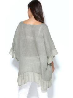 Blusa lino manga murciélago bajo en tejido a contraste CHIC SIZE: L-3XL
