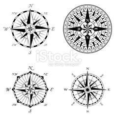 Boussole, Rose des vents, Démodé, Retour du rétro, Image en noir et blanc Illustration vectorielle libre de droits
