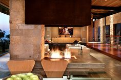 Great blending of stone and wood to create a warm and inviting space.