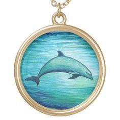 "Jewelry - Necklaces and Lockets ••• ""Indigo Lagoon"" Dolphin watercolor by wildlife artist Amber Marine ••• AmberMarineArt.com •••"