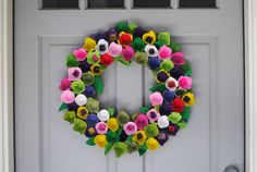 Egg Cartons made into a Colorful Floral Wreath